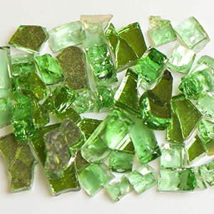 Green Reflective Fireplace Glass
